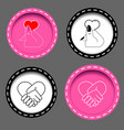 icons with hands and hearts vector image