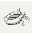 inflatable boat with oars vector image vector image
