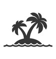 island with palm trees icon on white background vector image vector image