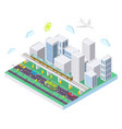 isometric city with public transport flat vector image