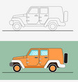 jeep suv line art jeep vector image vector image