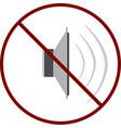 no sound no noise prohibition sign vector image vector image