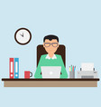 office worker working on the computer vector image