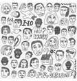 People faces doodles vector image vector image