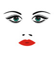 portrait of beautiful young woman with green eyes vector image vector image