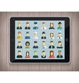 Professions Flat Icons with tablet PC vector image vector image