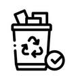 recycling trash icon outline vector image vector image