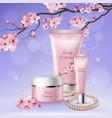 sakura tubes of cosmetics composition vector image