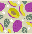 seamless pattern plum violet leaves flowers vector image vector image