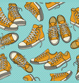 seamless pattern with sneakers vector image vector image