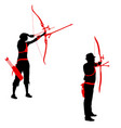 set silhouette attractive female and male archer vector image