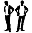silhouettes of people holding hands on hips vector image vector image