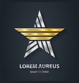 silver and gold star - logo award or 3d icon vector image