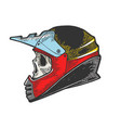 skull in motorcycle helmet sketch engraving vector image