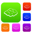 small cloud set color collection vector image vector image