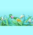 spring grass and flowers cartoon 3d background vector image vector image