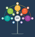 template tree info chart or diagram with 5 vector image vector image