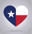 texas tx flag in heart shape vector image vector image
