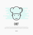 thin line icon of chef in hat for logo vector image vector image