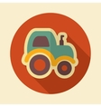 Tractor retro flat icon with long shadow vector image