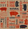 typographic craft butchery seamless pattern vector image