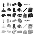 usa country black icons in set collection for vector image vector image