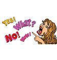 yes what no wow pop art woman points funny vector image vector image