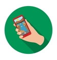 Taking photo on smart phone icon in flat style vector image