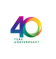 40 year anniversary template design vector image