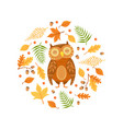 autumn forest seamless pattern round shape vector image