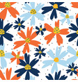 blue and orange flowers seamless repeating vector image vector image