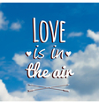 blurred with clouds blue sky and text Love vector image
