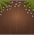 branches of spruce on a wooden background vector image
