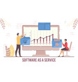 businesspeople use saas for information processing vector image vector image