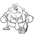 caricature a man holding a phone in oxer vector image vector image