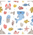 childish seamless pattern with funny sea and ocean vector image vector image