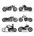 chopper motorcycle silhouette classic road vector image