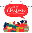 christmas and new year diverse friend group card vector image vector image