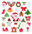 christmas icons new year decoration vector image