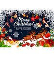 christmas santa sleigh card with xmas gift frame vector image