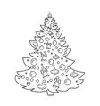 Christmas tree cartoon coloring book vector image vector image