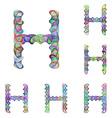 Colorful ellipse fractal font - letter H vector image vector image