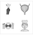 crime restaurant and other monochrome icon in vector image vector image