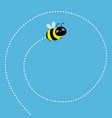 cute flying bee dash line spiral in sky vector image vector image