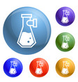 double flask icons set vector image vector image