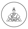 emperor of china icon black in circle outline vector image