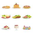 European Cuisine Food Assortment Menu Items vector image vector image