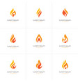 Flame logo set vector