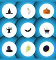 flat icon celebrate set of witch cap cranium vector image vector image