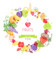 Fruits in the circle on white background vector image vector image